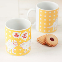 Valentine's Mug Funny Horny Dinosaurs. Spotty Sunshine Yellow Geek Rude Triceratops Ceramic Cup. Humourous. Science Palaeontology