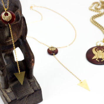 Winged Scarab Y necklace by See Rue. 24k gold plated (anti tarnish) Y necklace. Handmade wood pendant. Brass scarab pendant.