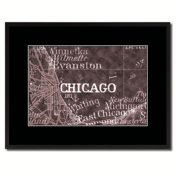 Chicago Illinois Vintage Vivid Sepia Map Canvas Print, Picture Frames Home Decor Wall Art Decoration Gifts