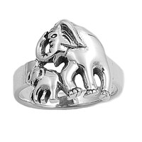 925 Sterling Silver Mother and Daughter Elephant 15MM Ring