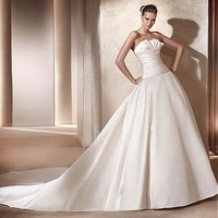 [350.99] Formal Satin Strapless Cathedral Train Wedding Dress - Dressilyme.com