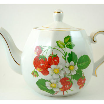 Vintage Ellgreave Ironstone Teapot with Strawberries Pattern and Gold Trim, Wood and Sons, England