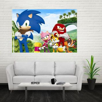 Nice Sonic The Hedgehog Poster Custom Satin Poster Print Cloth Fabric Wall Poster Print Silk Fabric Print Poster