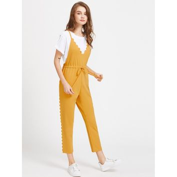 Criss Cross Back Scallop Trim Drawstring Waist Jumpsuit