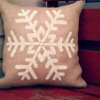Snowflake Burlap Pillow with Pillow Form, Christmas, Home Decor, Winter Decor, Snow **FREE SHIPPING**