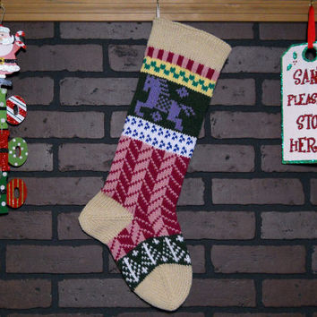 Christmas Stocking, Hand Knit Fair Isle Stocking with Heather Cuff and Lavender Horse, Can be Personalized, Housewarming/ Wedding/ Baby Gift
