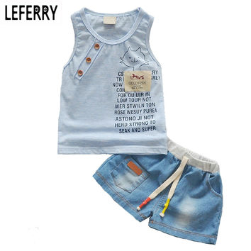 Tank Top + Jeans Shorts Childrens Toddler Boy Clothing Set Baby Clothes for Boys