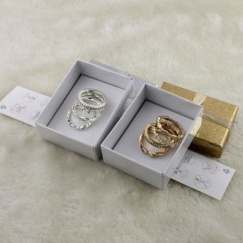 Ornaments Jewelry Specials Personality Full Rhinestone Red Ring Gold Alloy Ring Trend New Accessories Gift Box LM