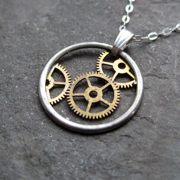 "Steampunk Gear Necklace ""Triplex"" Recycled Mechanical Watch Gears and Intricate Sculpture Wearable Art Not Quite Steampunk Assembly Necklace"