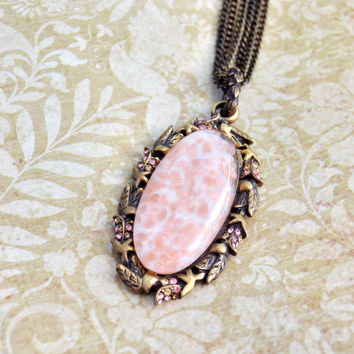 Vintage 1990s Jay Strongwater, Pink Art Glass Wreath Pendant with Rhinestones, Antiqued Brass Tone 3 Strand Necklace, Womens Estate Jewelry