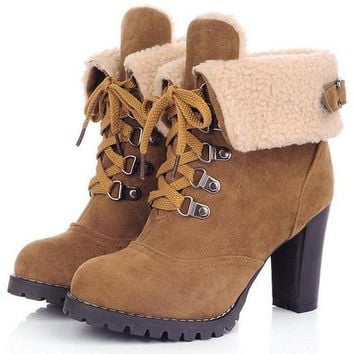 high heel  ankle boots winter martin snow fashion warm boot shoes