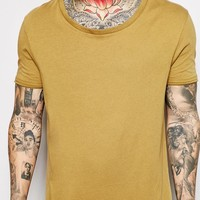 ASOS Longline T-Shirt With Stretch Neck And Dropped Hem