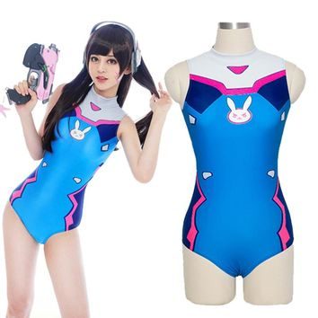 Sexy Game OW D.VA Cosplay Costume Dva Mercy Cosplay SUKUMIZU Spandex Anime Swimsuit One Piece Swimwear Bathing Suit