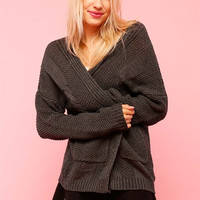 Serene Cable Knit Cardigan - Charcoal