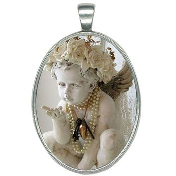 Oval Women or Girls Guardian Angel Child Statue on a Silver Necklace
