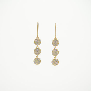 Gold plated three disc drop earring with micro-pave clear cz diamond stones
