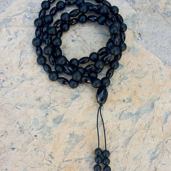 Mens Black Onyx Beaded Necklace Genuine Gemstone Necklace Healing Necklace