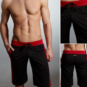 Stylish Simple Design Pants Gym Black Shorts [6541464131]