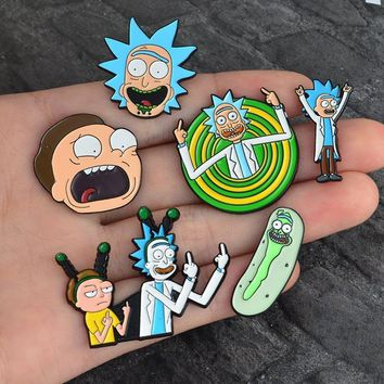 Trendy SMJEL Kids Jewelry Rick and Morty Science Cartoon Enamel pin Badge Brooch Broches Anime Lovers Shirt Denim Jackets lapel pin AT_94_13