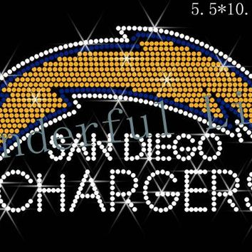 "Free shipping hot fix rhinestones motif  transfer design Rhinestone Transfer ""San Diego Chargers"" Hotfix , Iron On, Bling"