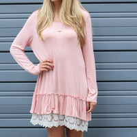 Ruffled Up Dusty Pink Lace Trim Dress