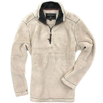 Pebble Pile Pullover 1/2 Zip in Ivory by True Grit
