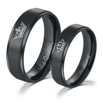 Jewelry Couple Rings Dating King Promise Letter Queen Engraved Her Ring His