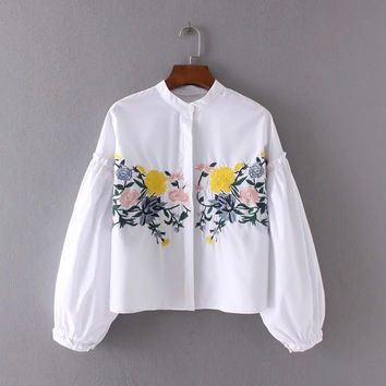 Elegant Women Tops Floral Embroidery Blouses Women Loose Mandarin Collar Long Sleeve Shirts Womens Summer Blouse White Blusas