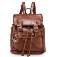 New Style Retro Vintage Pu Leather Casual Bag Backpack