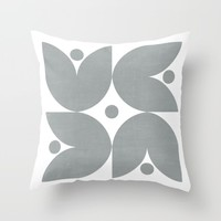 the tulips - gray Throw Pillow by Her Art