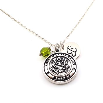 Army Emblem Military Charm Personalized Sterling Silver Necklace