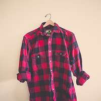 Buffalo Plaid Red Flannel  Black  Men's Hipster Thick Cozy Northwest Seattle Style Preppy Size Men's Extra Large XL Field & Stream