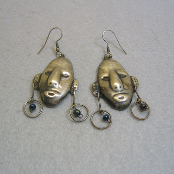 Unique Sterling Silver Plated African Warrior Head Pierced Earrings