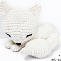 kawaii white sleepy fox amigurumi plush doll toy  - MADE TO ORDER