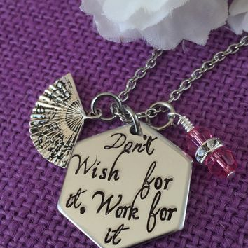 Motivation Necklace - Inspiration Jewelry - Graduation Gift - Work Hard - work for it - dont wish for it - You can do it