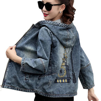 Plus Size 4XL 5XL 2017 Spring Bomber Jacket Women Embroidered Denim Jacket Bombers Hooded Jaqueta Jeans Women Basic Coats ZY3199