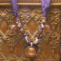 Tibetan Coin Purple Silk Ribbon Necklace Gypsy Boho