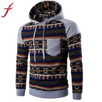 Fashion Men Blouse Retro Printing Long Sleeve Hoodie Hooded Sweatshirt Tops Jacket Coat Outwear Plus Size #LSW