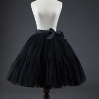5 Layer Midi Tutu Skirts Bubble Skirt Vintage Tulle Skirt Women Lolita Petticoat Party Prom Skirt