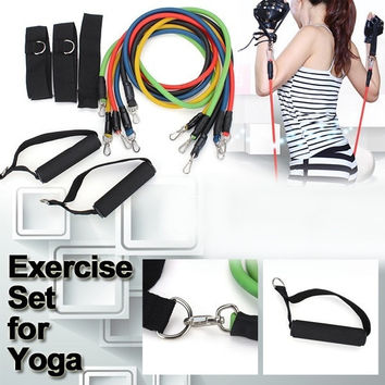 For Yoga 11 Pcs Latex Resistance Bands Exercise Set ABS P90X Workout Fitness #SHOWNOW# = 1932058500