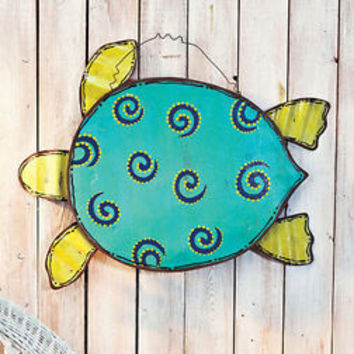 Beach Themed Metal Wall Art Hanging Sea Turtle Patio Living Room Deck Decor New