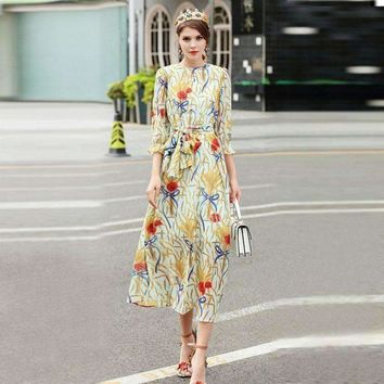 Womens Long 3 4 Sleeve mid-calf-length Slim Bow Dress
