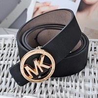 MK Popular Women Men Delicate Pure Color Metal Smooth Buckle Belt Leather Belt(10-Color) Black