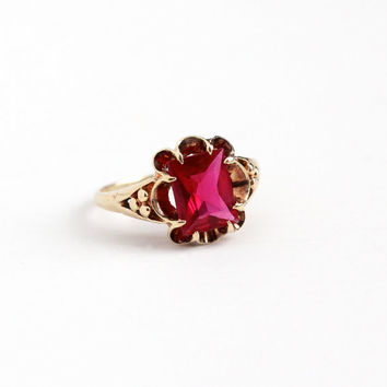 Vintage 10k Rosy Yellow Gold Created Ruby Ring - Retro 1950s Size 7 1/2 Red Pink 2 + Carat Synthetic Gem July Birthstone Fine Jewelry