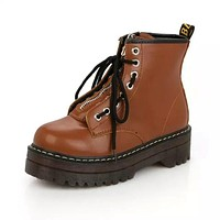 Lace up Cow Muscle Platform Leather Boots