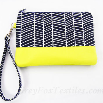 Blue chevron Wristlet / Clutch / Cosmetic Case in Navy Blue herringbone print and bright yellow