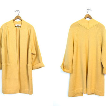 60s Long Mustard Yellow Wool Sweater Coat Thick Heavy Wool Modern Open Cardigan Duster 1960s Minimalist Wool Jacket Pockets Vintage Large