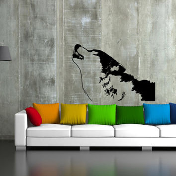 ik40 Wall Decal Sticker Room Decor Wall Art Mural wolf howling at the moon living room bedroom interior