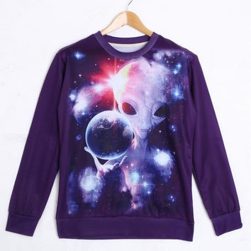 Sweatshirts Fashion Unisex Printed Alien Long Sleeve Crewneck Sweaters  S / M / L / XL