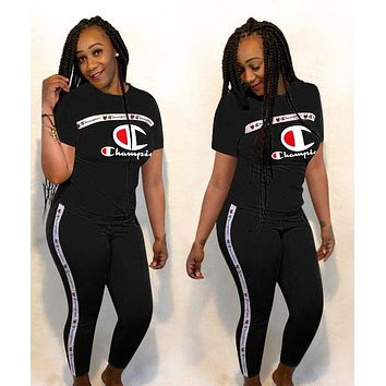 Champion Newest Hot Sale Women Sexy Print Short Sleeve Top Trousers Set Two-Piece Sportswear Black